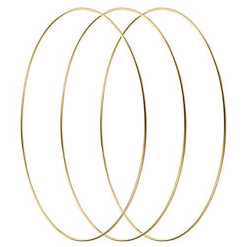 LIHAO 4 Stück 30cm Gold Metallring Kranz Ringe Hängedekoration Ringe Floral Hoops Ringe Kranz für DIY Handwerk Traumfänger Hochzeit Deko zum basteln