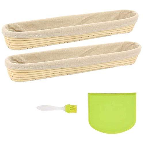 YFJLOVE YUFENGJIAO 2 Paquete de Baguette Banneton Pan de corrección de la Cesta y la Ropa de Liner Set con Solicone Cepillo Masa raspador 17 Pulgadas