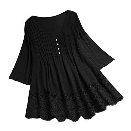 MRULIC Damen leinenbluse Frauen Sommer Casual Kurzarm T-Shirt Baumwolle Leinen Blusen Tops Mollige Locker Shirts Tunika große größen T-Shirt Hemd Pullover Frühling Jacquard Oberseiten(Rot,48)