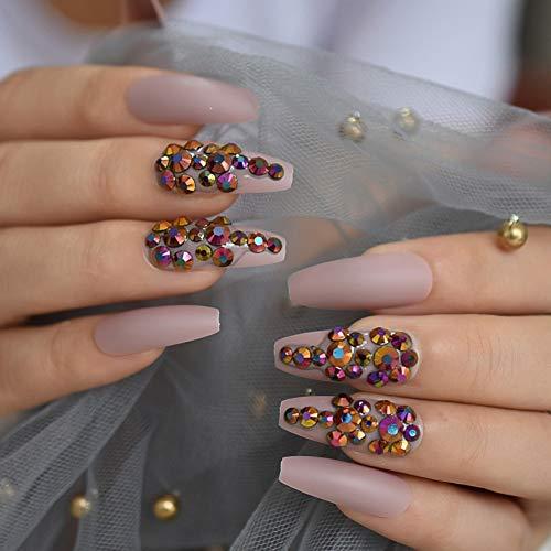 Faux Ongles 3D Gems Noir Givré Faux Ongles Faux Extra Long Pointed Matte Press on Salon Party Wear Nail Tips