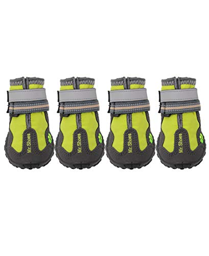 ASMPET Dog Booties for Large Breed Dogs Hardwood Floor Dog Boots Waterproof Dog Boots Cold Weather Dog Shoes 4PCS Green 08