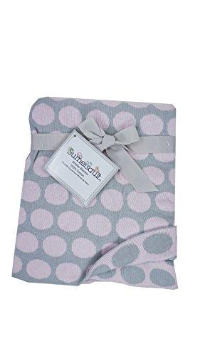 Sumersault Baby Girl Pink/Grey Circles/Polka dots Knit Blanket Elegant Layette 100% Cotton