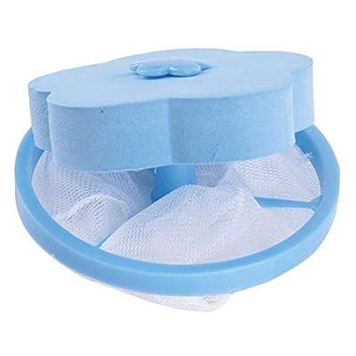 Wifehelper Plum Blossom-shape Flower Washing Machine Floating Filtering Bag Portable Reusable Washing Machine Floating Lint Mesh Bag for Washer Laundry(Blue)
