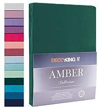 Decoking - Sábana bajera ajustable de 100 % algodón, White Amber Collection, algodón, verde botella, 200x200 - 200x220 Amber