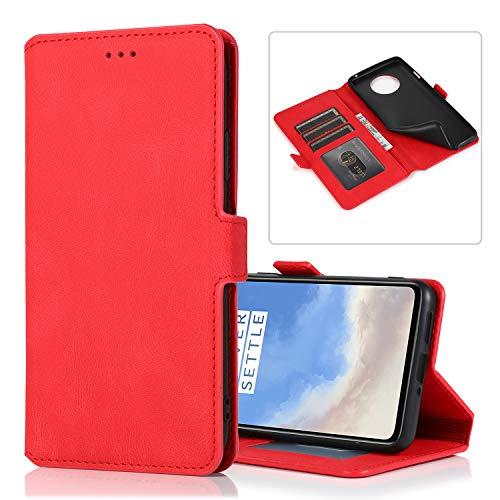 TTUDR OnePlus 7T Premium Leder Flip Schutzhülle [Standfunktion] [Kartenfächer] [Magnetverschluss] lederhülle klapphülle für OnePlus 7T - TTKLT010413 Rot