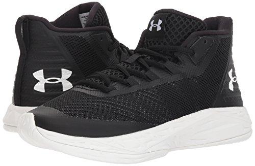 Under Armour Women's Jet Mid Basketball Shoe, Black (002)/White, 5
