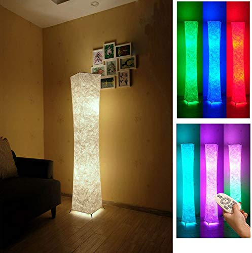 Soft Light Floor Lamp, 52 LEONC Twist Tower Morden Slim RGB Color Changing LED Tyvek Fabric Shade Dimmable Remote Control & 2 Smart LED Bulbs for Livingroom