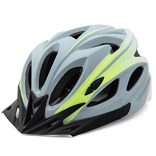 VICTGOAL Fahrradhelm für Herren Damen Mountainbike Helm mit Abnehmbares Visier LED Rücklicht Leichte MTB Helm für Radfahrer (Grau Weiß)