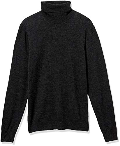 Amazon Brand - Goodthreads Men's Lightweight Merino Wool/Acrylic Turtleneck Sweater, Charcoal Large