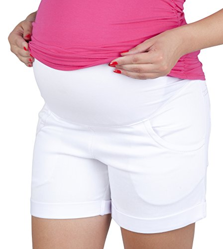 9037 - Jeans corti premaman con fascia addominale bianco 50