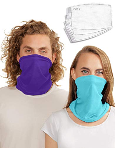 Rejoycity Designer 2 Pack Neck Gaiter w/ 12 Pcs PM 2.5 Activated Carbon Filter (Electric Blue, Vivid Violet)
