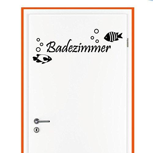 Wandtattoo in deiner Wunschfarbe TÜR Aufkleber Badezimmer Fisch WC Klo Toilette Bad 27x10 cm Wand Aufkleber Sticker