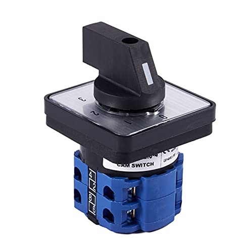 JSJJAUA Interruptor Giratorio 8 Terminales 5 Posiciones Control Master Rotary CAM Interruptor 20A Negro + Azul (Color : Black)