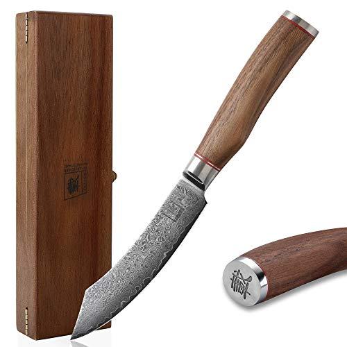 zayiko Kurumi Damastmesser Exklusives Steakmesser extrem scharfe 12,50 cm Klinge aus 67 Lagen I Damast Küchenmesser aus echtem japanischen Damaststahl mit Griff aus Nussbaum & Holzbox