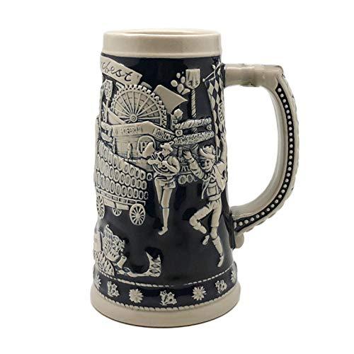 Beer Stein Blue Munich Oktoberfest Beer Wagon Beer Mug by E.H.G   .75 Liter