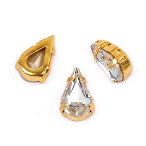 PENVEAT 4300 Todos los tamaños Piedras Cosidas en Forma de Pera cristalina Punto Trasero Cristal Strass Cose en Diamantes de imitación para la fabricación de Joyas, con Garra de Oro, 5x8 mm 27 Piezas