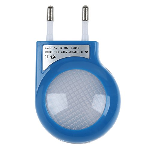 SODIAL Lampara Nocturna LED Sensor Azul 0.7W con Enchufe Bajo Consumo