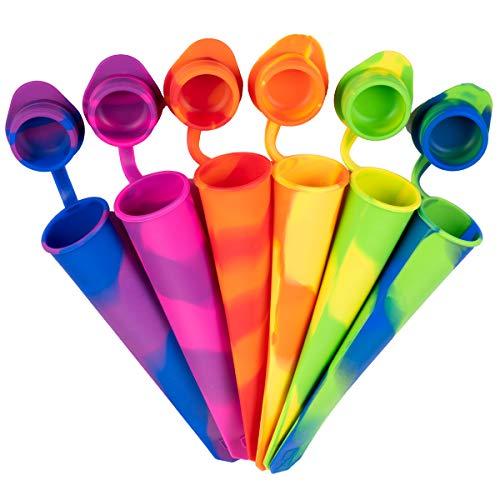 iNeibo Juego de moldes para Helados, Polos de Hielo, de Silicona, sin BPA (10 colores) (6 Multicolor) (Juego de 6)