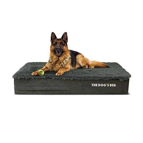 The Dog's Bed Orthopedic Dog Bed, Premium Memory Foam, Large Grey Faux Fur 40x25, Pain Relief for Arthritis, Hip & Elbow Dysplasia, Post Surgery, Lameness, Supportive, Calming, Waterproof Cover