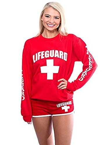 LIFEGUARD Official Ladies Red Crew Neck Sweatshirt (Small, Red)