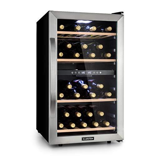 Klarstein Vinamour 45D Weinkühlschrank, Unterbau/Einbau, 83,5 cm, EEK A, 2 Kühlzonen, 118 Liter, 5-12 °C (obere Zone) / 12-18 °C (untere Zone), 45 Flaschen, Touch Control, freistehend, Edelstahl