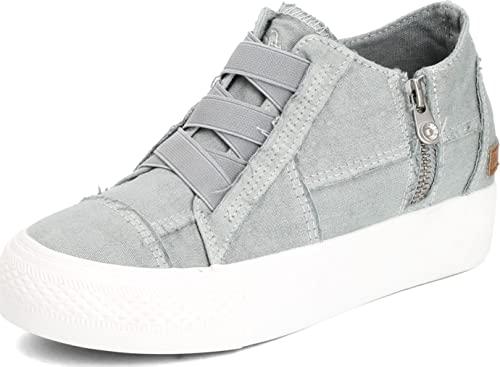 Blowfish Malibu Women's Mamba Sneaker, Sweet Gray Color Washed Canvas, 7.5