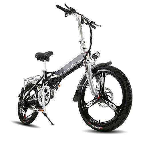 LILIJIA 48v 400w Bicicleta Montaña Eléctrica 20 Pulgadas Fat Tire E-Bike 7 Velocidades Bicicleta Eléctrica Plegable, Deportes Ciclismo Al Aire Libre Viajes Viaje, Mecanismo Absorción,Negro