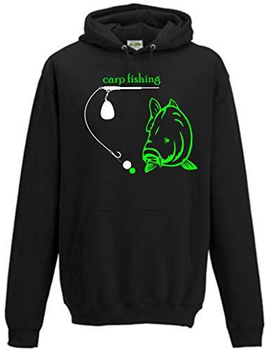 Karpfen Hoodie, Karpfen Pullover, Karpfen Tshirt, Brust, Rückendruck. Carp Fishing 5 (Schwarz, M)