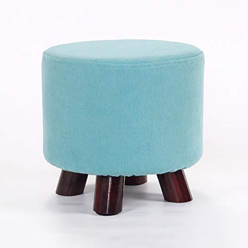 Taburete bajo Sofá de sala de estar, mesa de centro, taburete de cambio de zapatos, muelle creativo, banco de madera maciza, reposapiés - pequeños taburetes redondos con tela acolchada Cojín - reposap