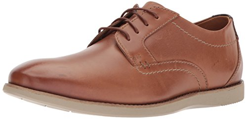 Clarks Men's Raharto Plain Oxford, Dark tan Leather, 8.5 Medium US