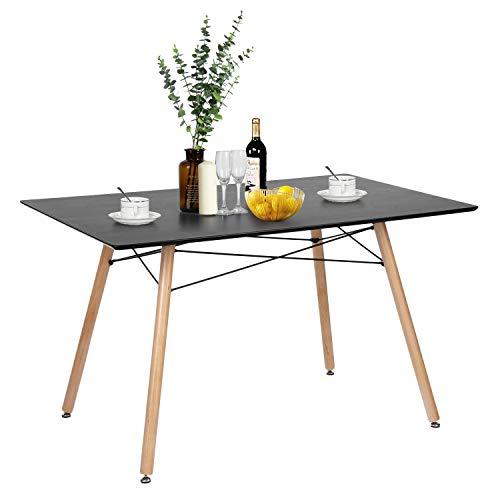 Sep Home Esstisch, rechteckig, für 4 bis 6 Personen, skandinavisch, Schwarz, Füße aus Buchenholz, 120 x 80 cm