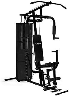 Klarfit Ultimate Gym 3000 Black/White Edition - Multiestación de musculación, Entrenamiento Fitness, Ejercicios de Remo, Hombros, Espalda, Brazos, isquiotibiales y glúteos, Acolchada