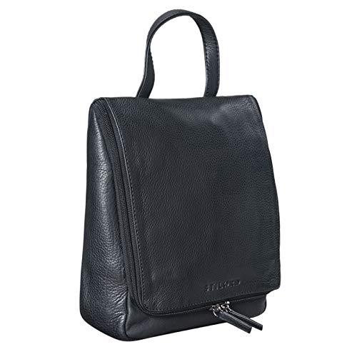 STILORD 'Lewi' Kulturbeutel zum Aufhängen Leder Kulturtasche Waschtasche mit Henkel und Haken Reise Necessaire Vintage Leder, Farbe:schwarz