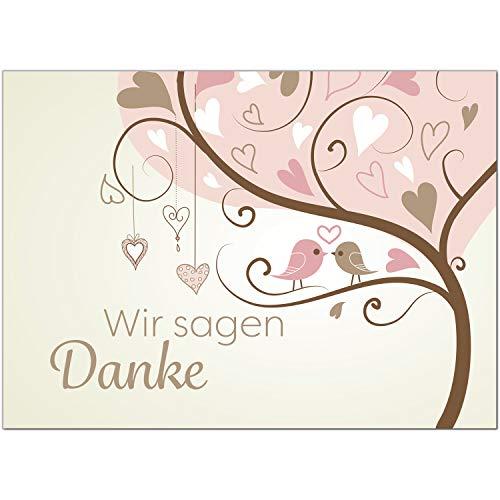 15 x Hochzeits-Dankeskarten - Rosa Vögel im Baum auf Ast Herzen - Danksagungskarten für Ehepaare um Danke zu sagen nach Hochzeit, Polterabend oder Hochzeitsfeier