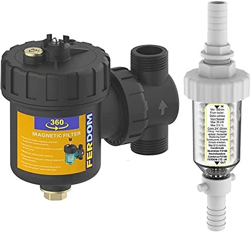 KIT SALVA CALDAIA ECO FD220 Ferdom. 2 In 1. FD360 Filtro Defangatore Magnetico Con Separatore Di Sporco Non Magnetico, 1  DN25, 9000Gs +FD168 Neutralizzatore Di Condensa Acida Con Ricarica per 8-12 m.
