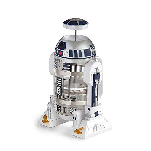 CDSS Star Wars, Roboter, Haus, Mini, Hand, Kaffeemaschine, Wärmer, Kaffeemaschine Mocha, Französisch Presse (Kunststoffschale ohne Bisphenol A + Glas + Edelstahl Plunger und Filter Montage)