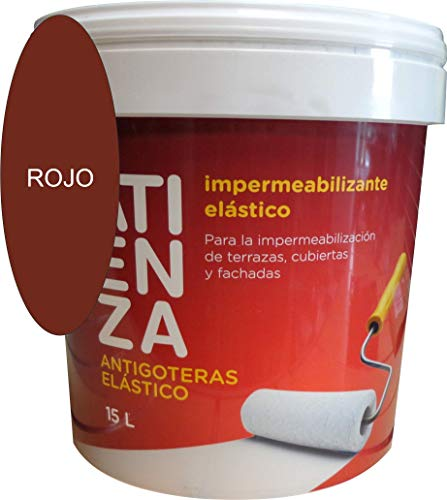 Impermeabilizante elástico antigoteras ATIENZA. De facil aplicación, Para impermeabilizar Terrazas Cubiertas y fachadas. (4 L, ROJO)