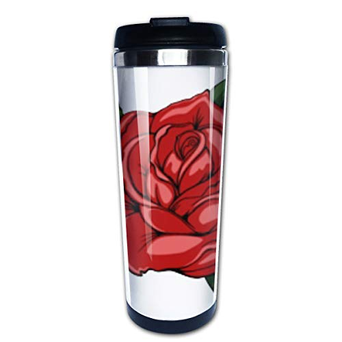Cavdwa Kaffeebecher mit rotem Rosenmuster, Edelstahl, isoliert, ca. 400 ml