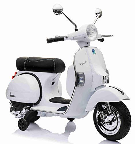 LAMAS TOYS Moto Scooter Elettrico per Bambini Ufficiale Piaggio Vespa PX 150 12V con Rotelle Sella in Pelle Nero/Beige Crema (Bianco)