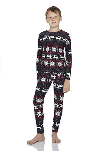 Rocky Christmas Thermal Underwear for Boys Fleece Lined Thermals Kids Base Layer Long John Set (Christmas Design - Small)