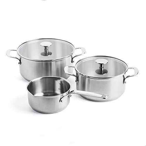 KitchenAid Topfset Edelstahl, Kochtöpfe mit Deckel und Topf mit Ausguss und Stiel, Backofen- und Spülmaschinengeeignet - 3-teilig