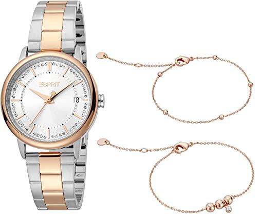 Esprit Damen Armbanduhr Harper Set 33 mm Inklusive Armband Armband Stainless Steel ES1L181M2095