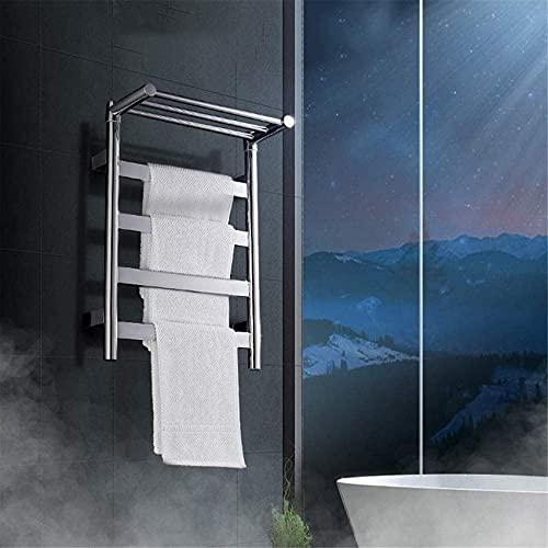 Mobiliario para el hogar Calentador de toallas Toallero con calefacción Estante de secado de toallas eléctrico de doble capa Ahorro de energía Seguridad para el baño Secador de toallas Accesorios d