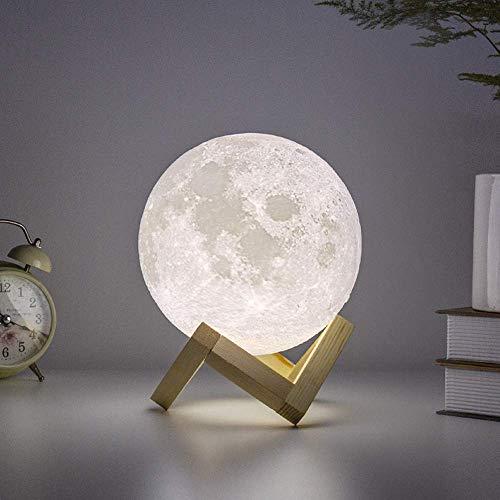 [Améliorer] Lampe de lune, ibell Lampe de Chevet/Veilleuse USB Rechargeable 3D Lune Lampe Veilleuse Lune pour Chambre Contrôle Tactile/2 Différents Couleurs Cadeau pour la fille et enfants15CM
