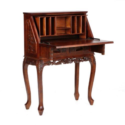 Big Sale Best Cheap Deals SEI Hand Carved Drop Front Desk, Natural Cherry