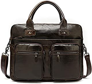 FYXKGLan Men's Business Briefcase Geniune Leather Men's Bag One-Shoulder Handbag (Color : Coffee)