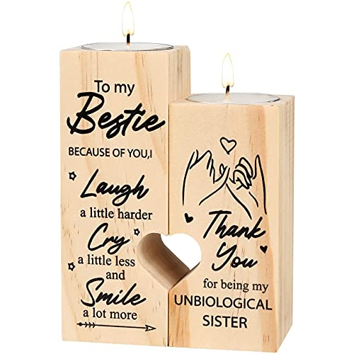 lefeindgdi Herzförmiger Kerzenhalter to My Bestie – Smile A Lot More – Kerzenhalter mit Kerze Geschenk für Beste Freundin (01)