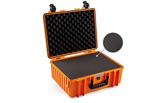 B&W Outdoor Case - Maletín rígido Tipo 6000 con Espuma (Carcasa rígida IP67, Espuma SI, Impermeable, Dimensiones Interiores 47,5 x 35 x 20 cm), Color Naranja