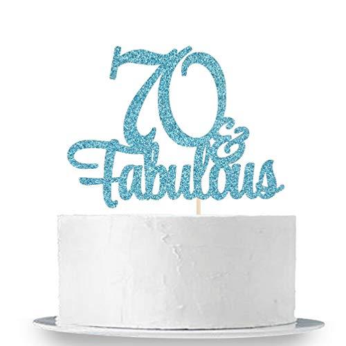 Decoraci/ón para tarta con purpurina azul 60 y fabulosa decoraci/ón para tarta de 60 cumplea/ños//60 aniversario Innoru decoraci/ón para fiesta de 60 aniversario//fiesta de 60 cumplea/ños