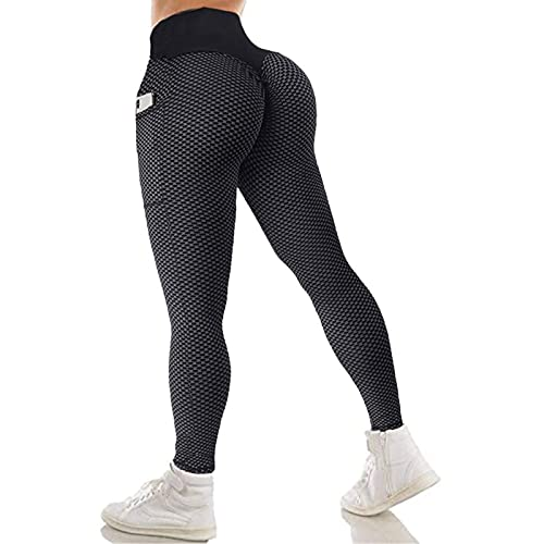 StaySlim Honeycomb Ruched Butt Lift TIK Tok Leggings for Womens High Waisted Bum Scrunch Workout Yoga Pants with Pockets Running Tights
